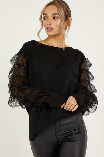 Black Knitted Lace Sleeve Jumper