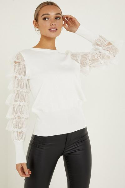 Cream Knitted Lace Sleeve Jumper