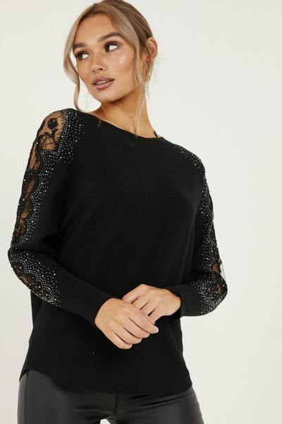 Black Knitted Lace Diamante Jumper