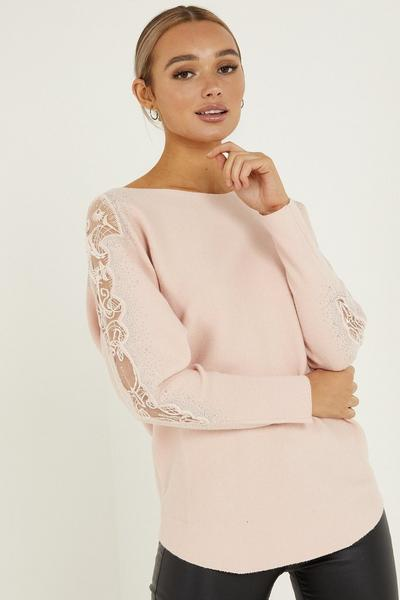 Pink Knitted Lace Diamante Jumper