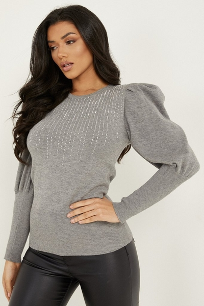 Grey Knitted Diamante Puff Sleeve Jumper