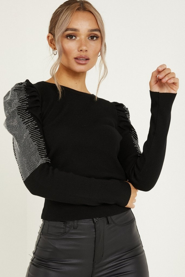 Black Knitted Diamante Puff Sleeve Jumper