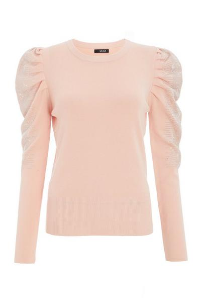 Pink Knitted Diamante Puff Sleeve Jumper