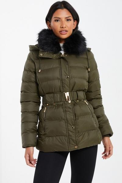 Khaki Padded Faux Fur Collar Jacket