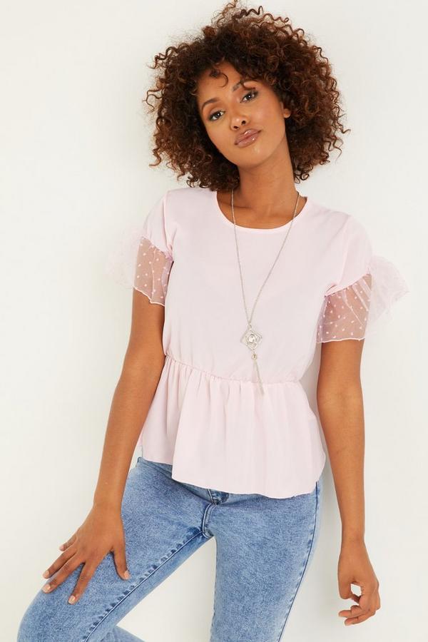 Pink Organza Sleeve Peplum Top
