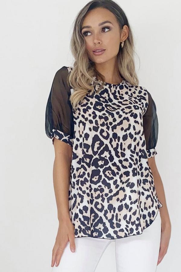 Leopard Print Organza Puff Sleeve Top
