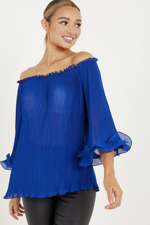 Blue Pleated Chiffon Bardot Top
