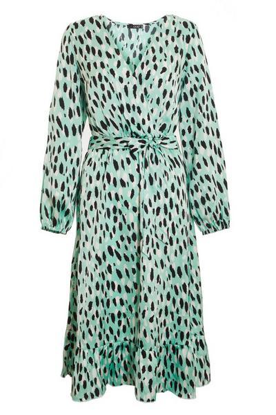 Green Satin Animal Print Midi Dress