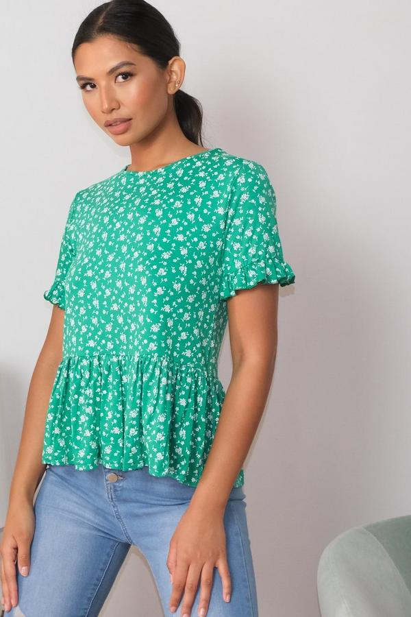 Green & White Floral Print Peplum Top
