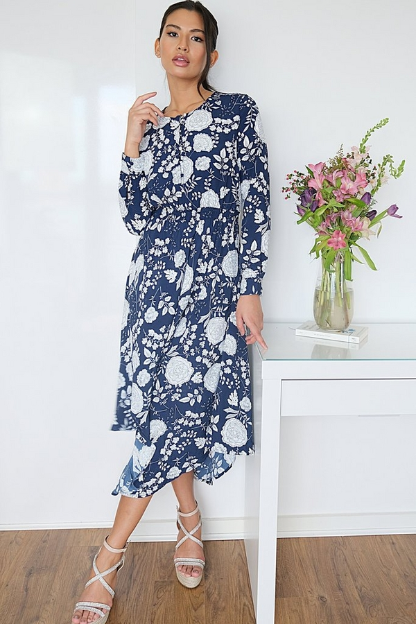 Navy & White Floral Midaxi Dress