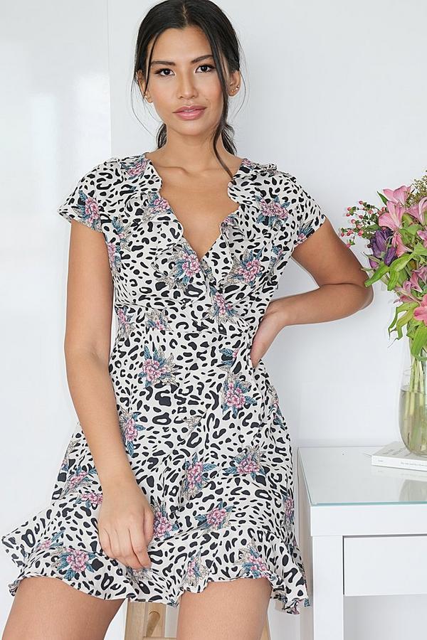 Cream Floral & Animal Print Dress