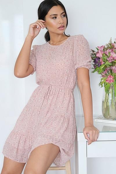 Pink Ditsy Floral Skater Dress