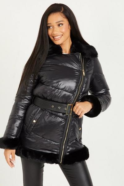 Black Padded Faux Fur Jacket