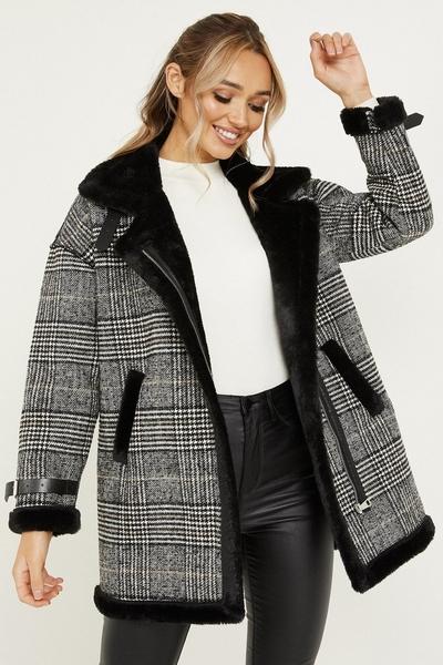Grey Check Faux Fur Trim Coat