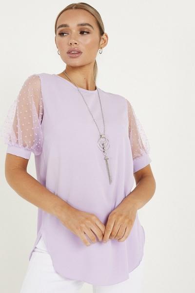 Lilac Polka Dot Necklace Top