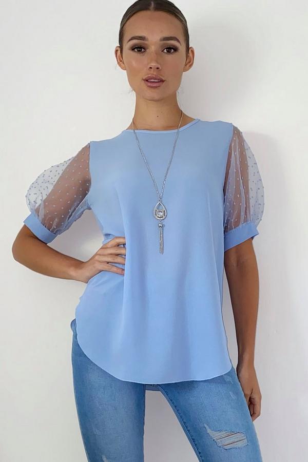 Blue Polka Dot Necklace Top