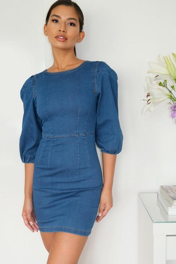 Blue Denim Puff Sleeve Bodycon Dress