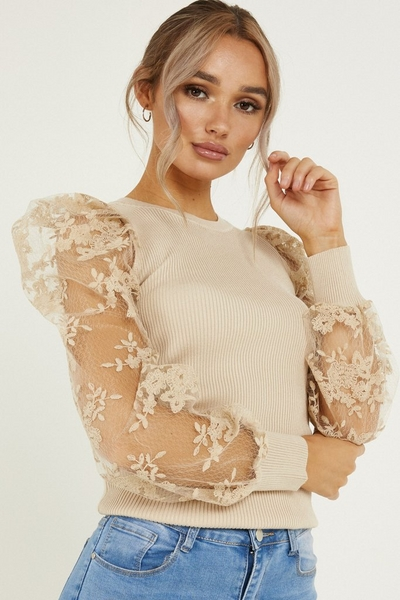 Stone Lace Puff Sleeve Jumper