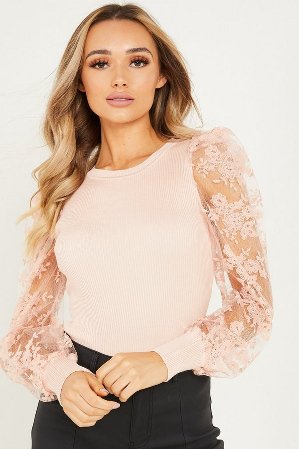 Pink Lace Puff Sleeve Jumper