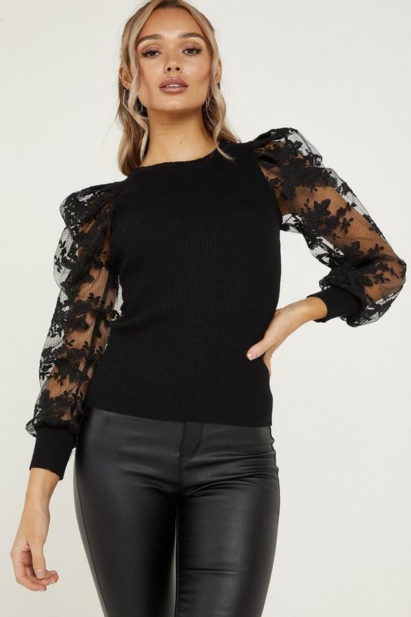 Black Lace Puff Sleeve Jumper