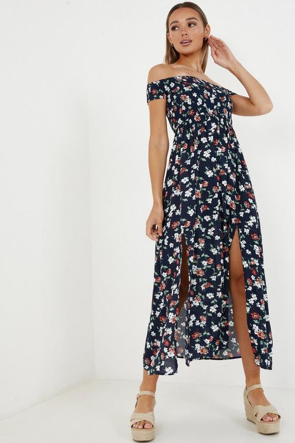 Navy & White Floral Bardot Maxi Dress