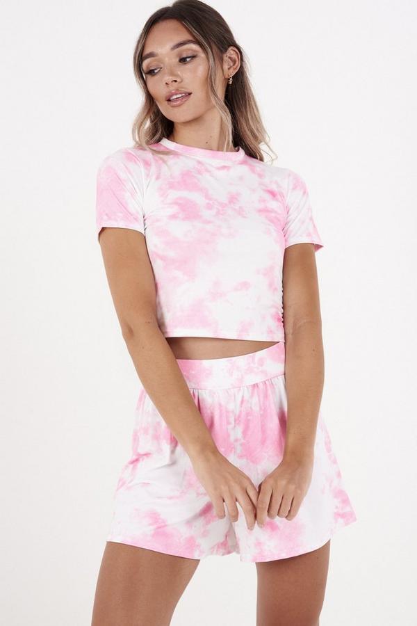 Pink & White Tie Dye Shorts