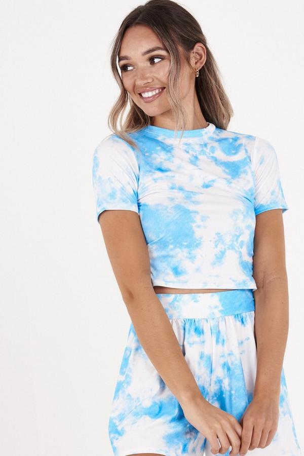 Blue & White Tie Dye Crop Top