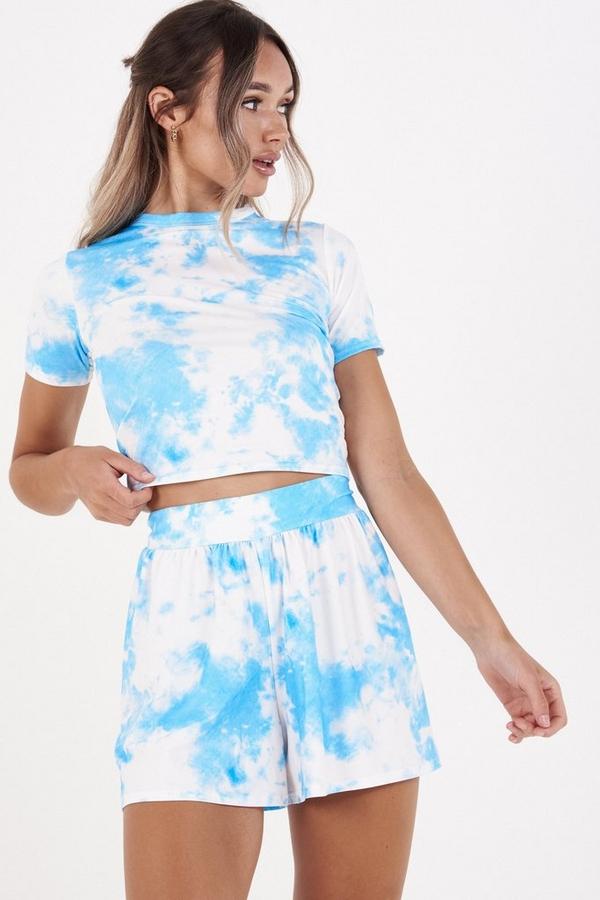 Blue & White Tie Dye Shorts