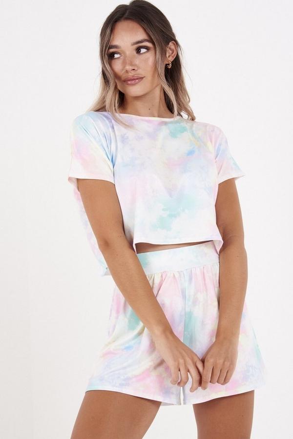 Multicoloured High Waist Tie Dye Shorts