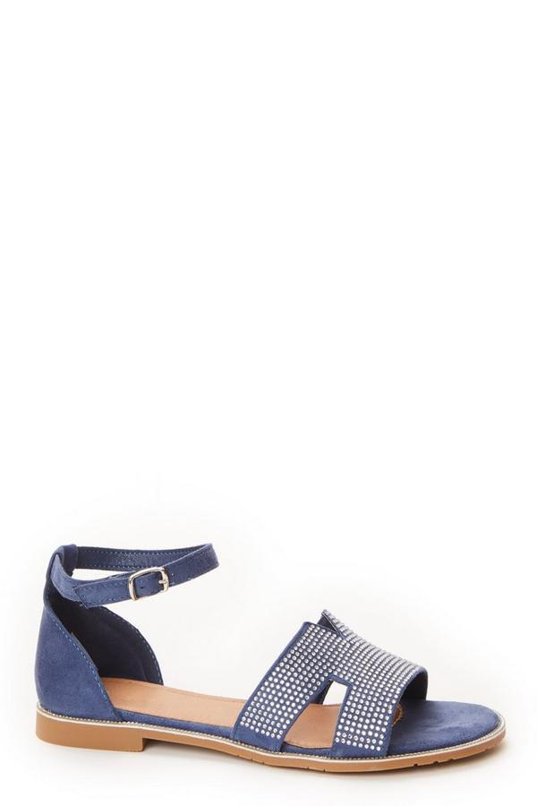 Blue Diamante Flat Sandals