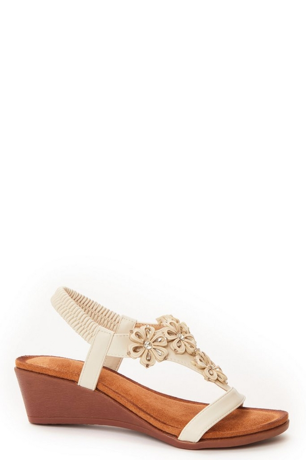 Nude Flower Wedge Sandals