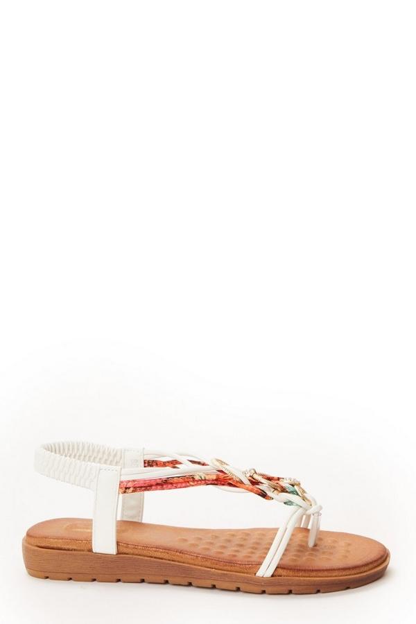 White Embellished Flat Sandals