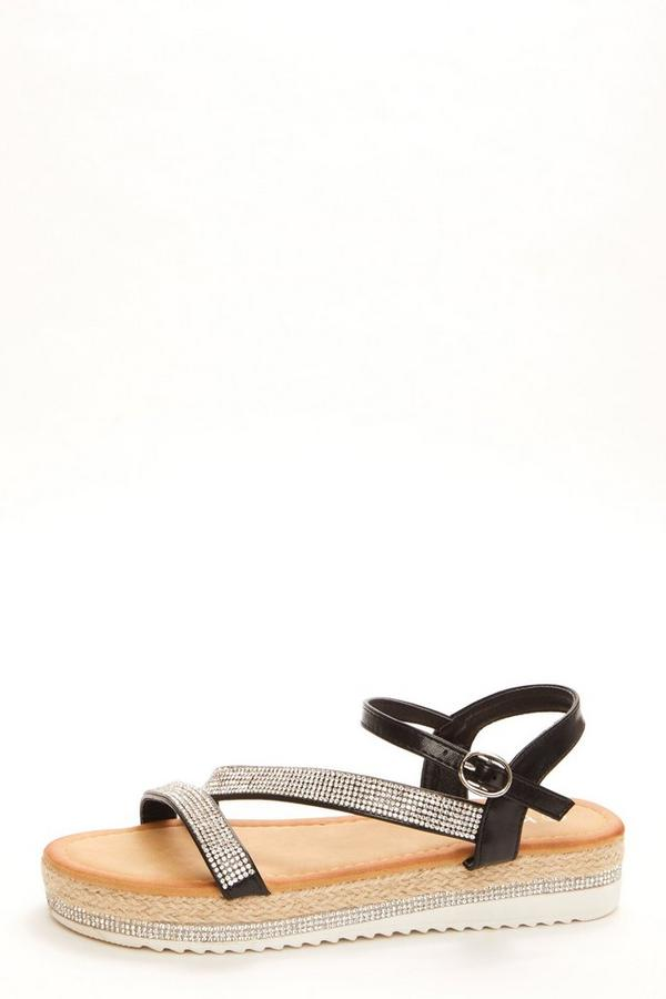 Black Diamante Strap Flat Sandals