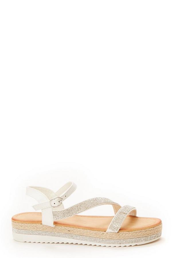 White Diamante Strap Flat Sandals