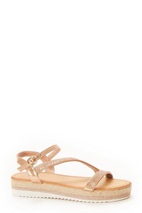 Rose Gold Diamante Strap Flat Sandals