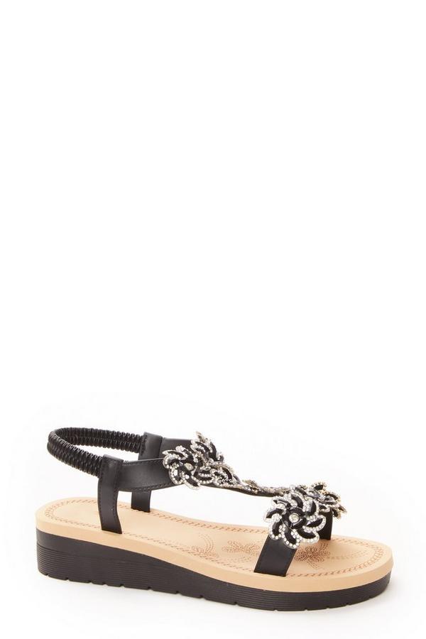 Black Flower Embellished Wedge Sandals