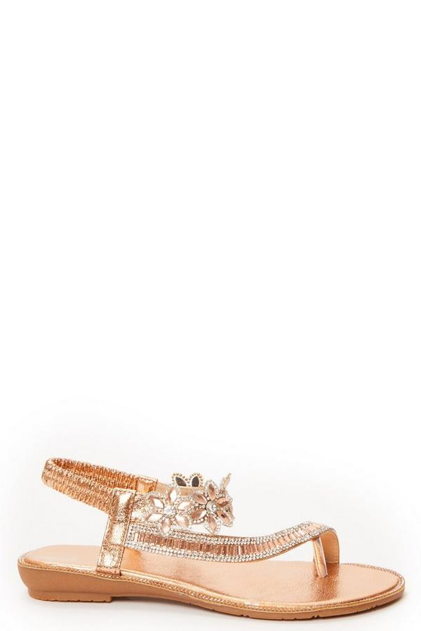 Rose Gold Diamante Flat Sandal
