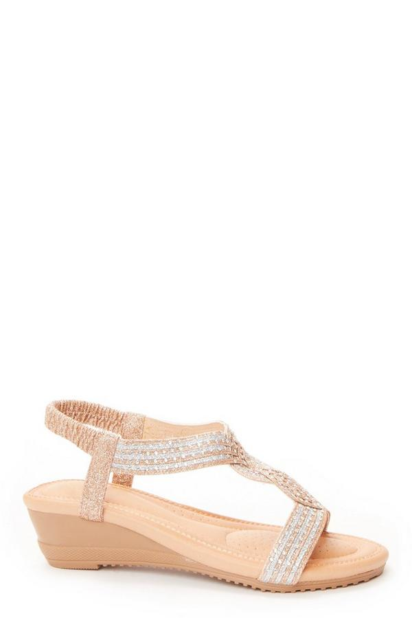 Rose Gold Twist Front Wedge Sandals