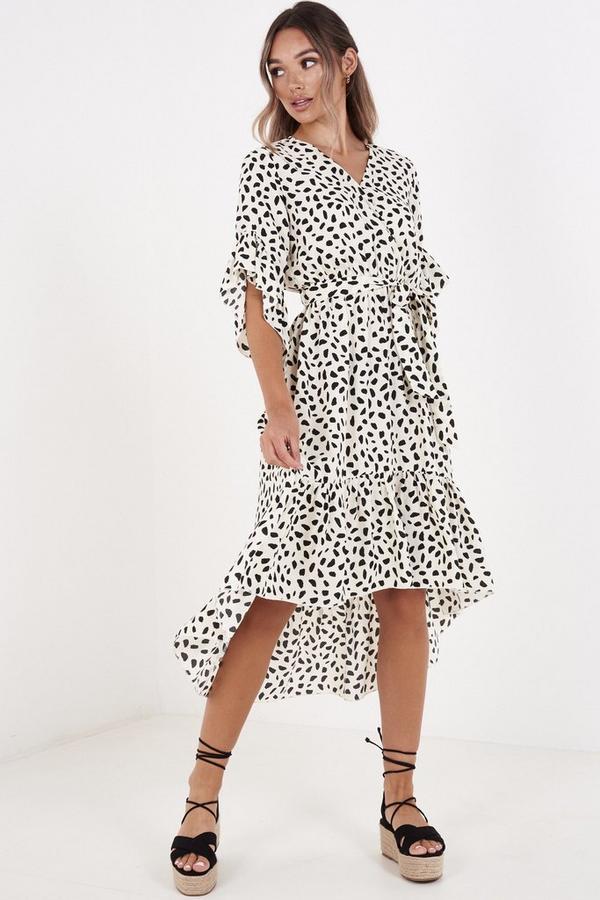 Cream & Black Polka Dot Dip Hem Dress
