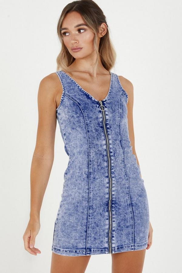 Denim Zip Front Bodycon Dress