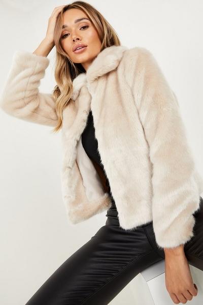 Stone Short Faux Fur Collar Jacket