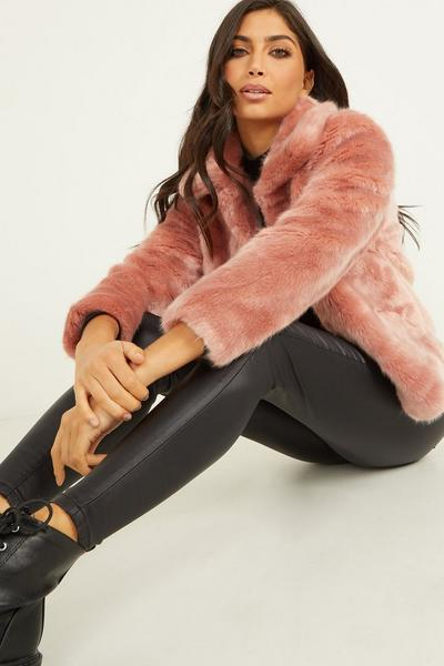 Pink Short Faux Fur Jacket