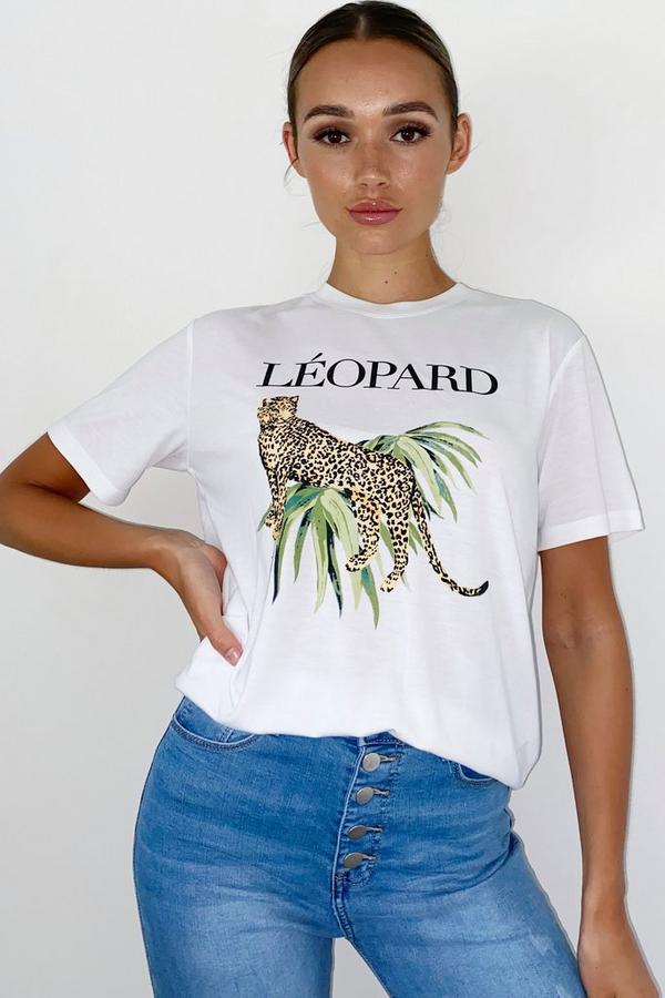 White Leopard Cat T Shirt