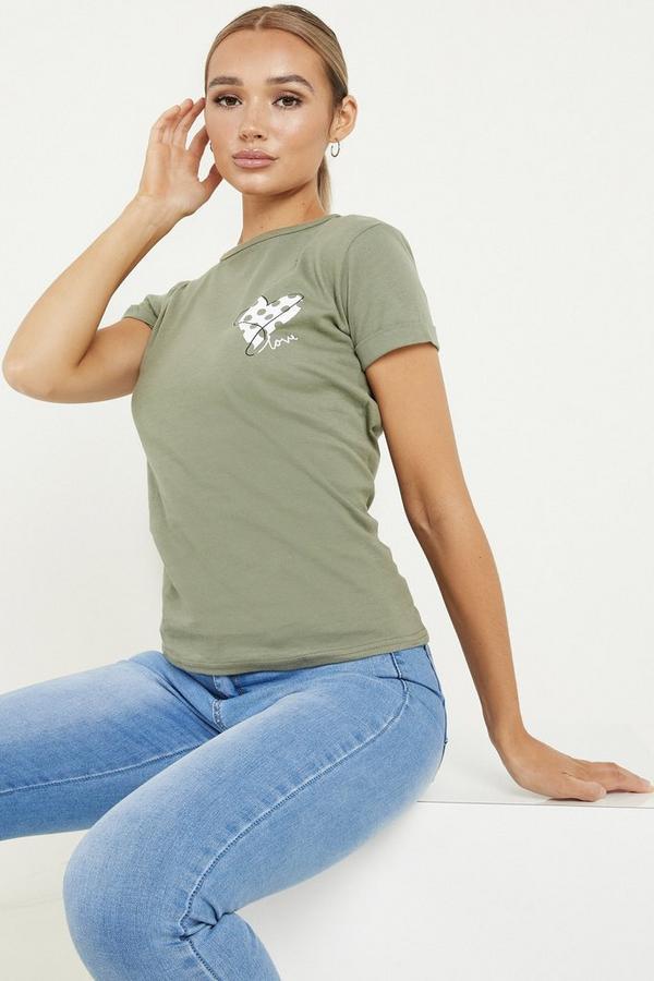 Khaki Love Heart Slogan T Shirt