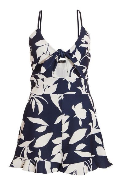 Navy & White Floral Playsuit