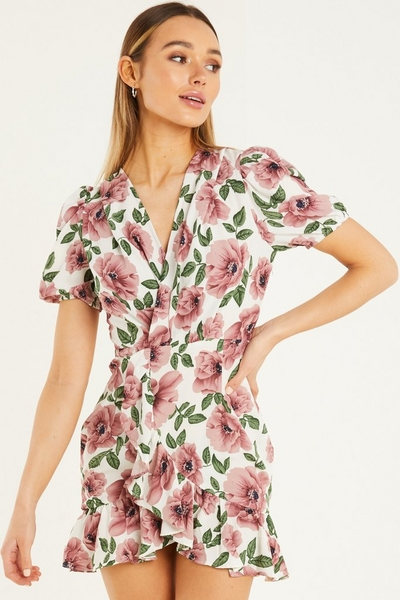 White & Pink Floral Print Wrap Dress