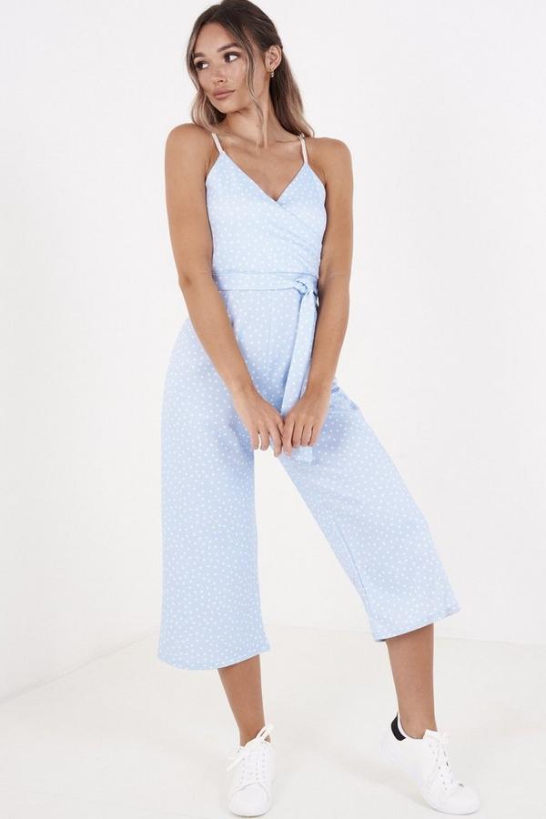 Blue Polka Dot Culotte Jumpsuit