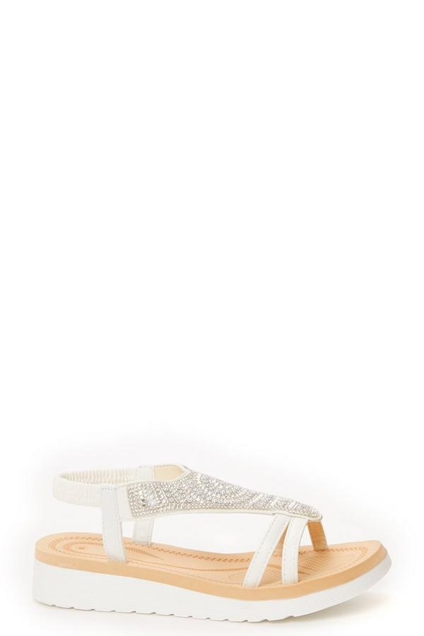 White Diamante Flat Sandals