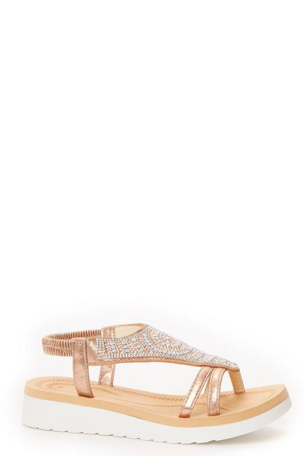 Rose Gold Diamante Flat Sandals
