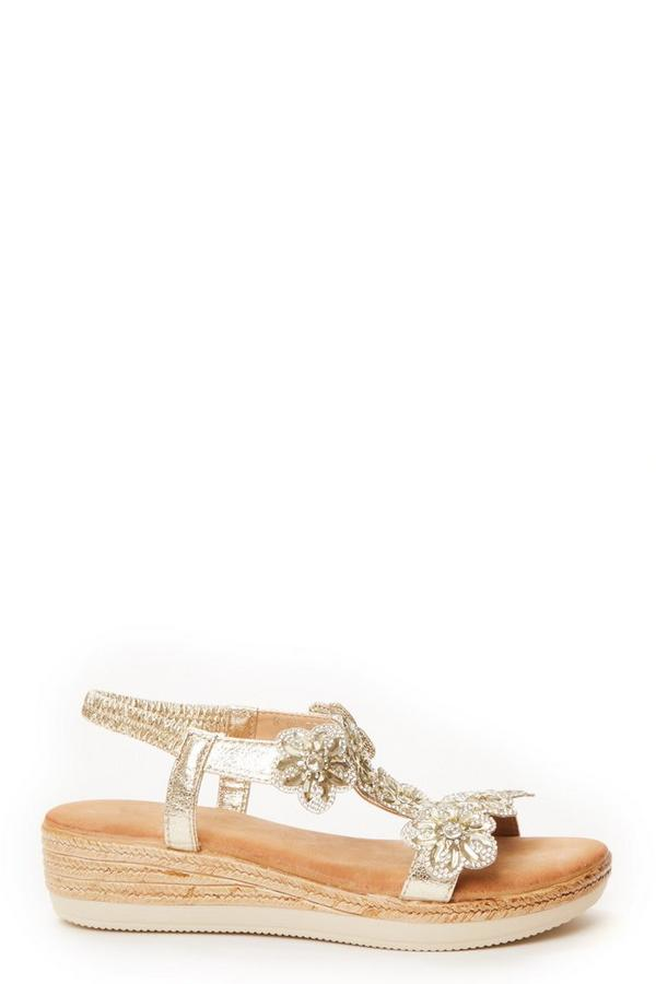 Comfort Gold Flower T-Bar Wedge Sandals